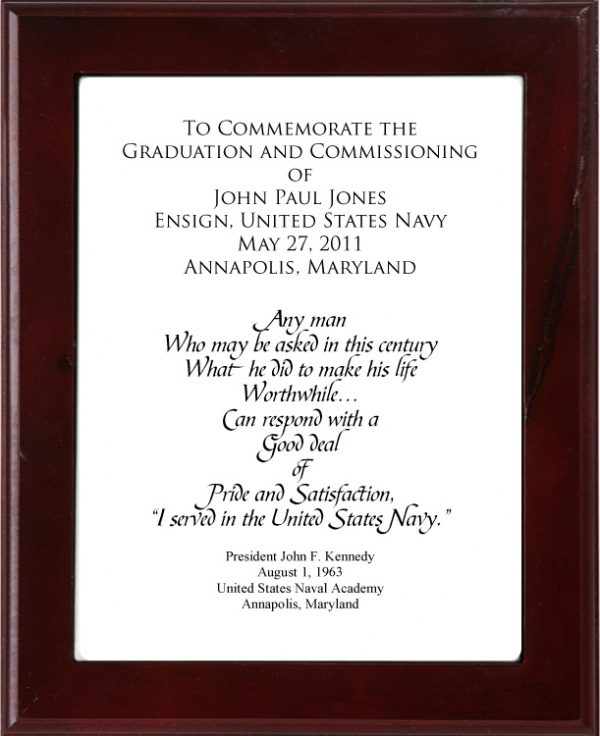 JFK Graduation and Commissioning Plaque 5981698_orig